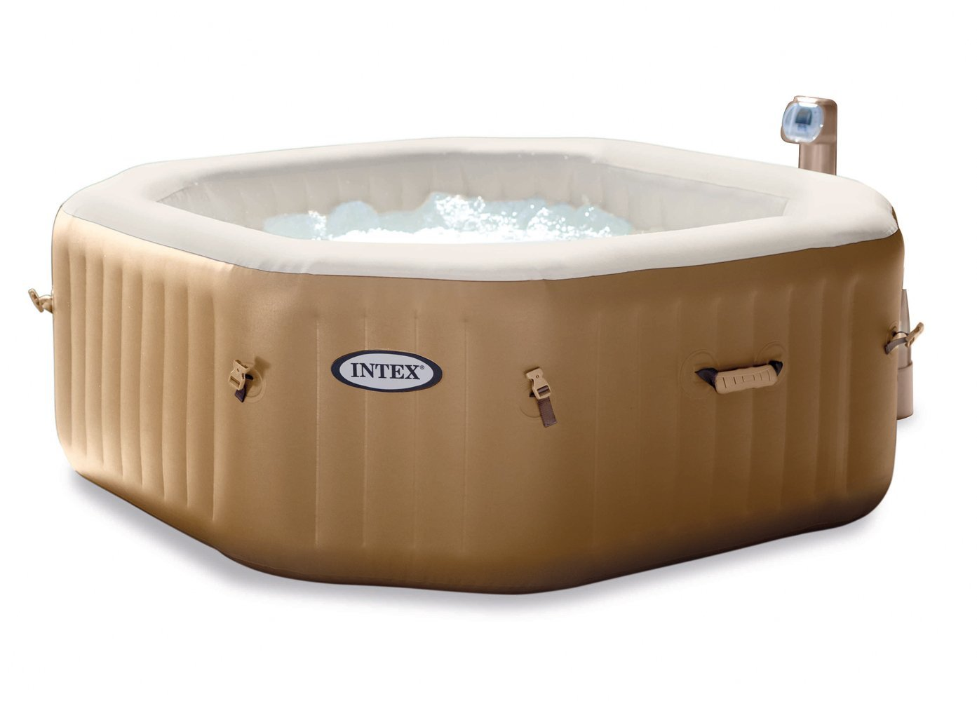 Intex octagonal bubble spa inflatable hot tub reviewed for Aspirateur spa intex